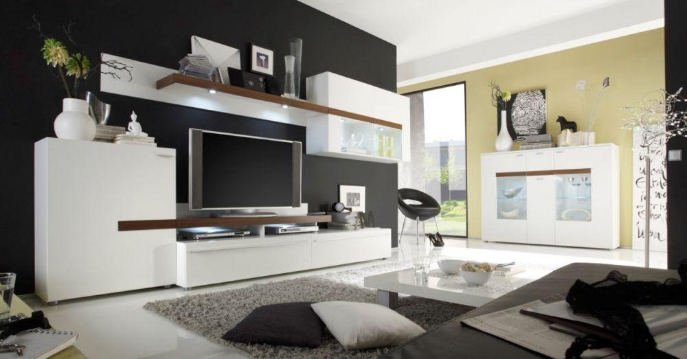 PEACHES Wohnwand II weiss/eiche   günstig Möbel online kaufen ...