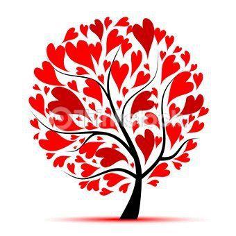 Tree Of Hearts Red Hearts Valentine Tree Heart Tree Heart Art