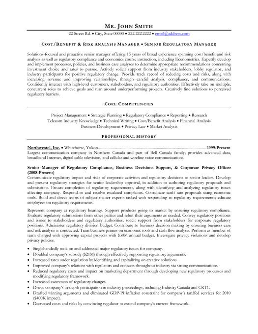 Click Here to Download this Senior Regulatory Manager Resume - government resume samples