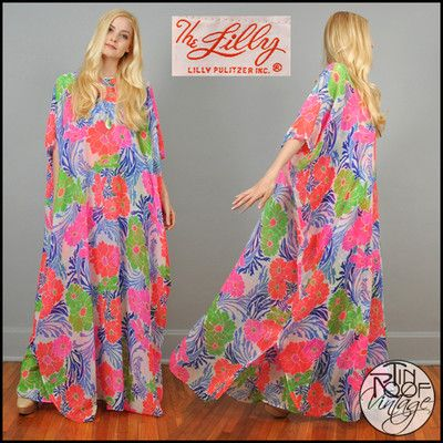 8ba0e48d180 vintage 60s 70s LILLY PULITZER sheer floral CAFTAN maxi dress neon ...