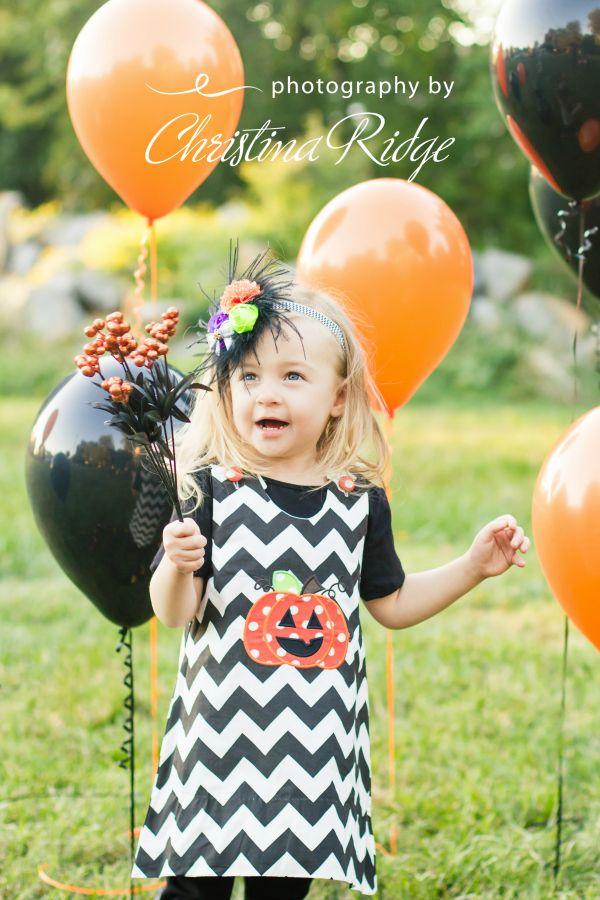 Jack O Lantern Pumpkin Dress ~ Photo by Photography by Christina Ridge, LLC. Headband by Lilybug Hugs Boutique