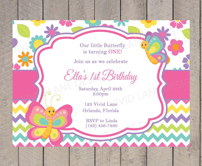 Butterflies Birthday Invitation Spring Girl First Birthday Pink ...