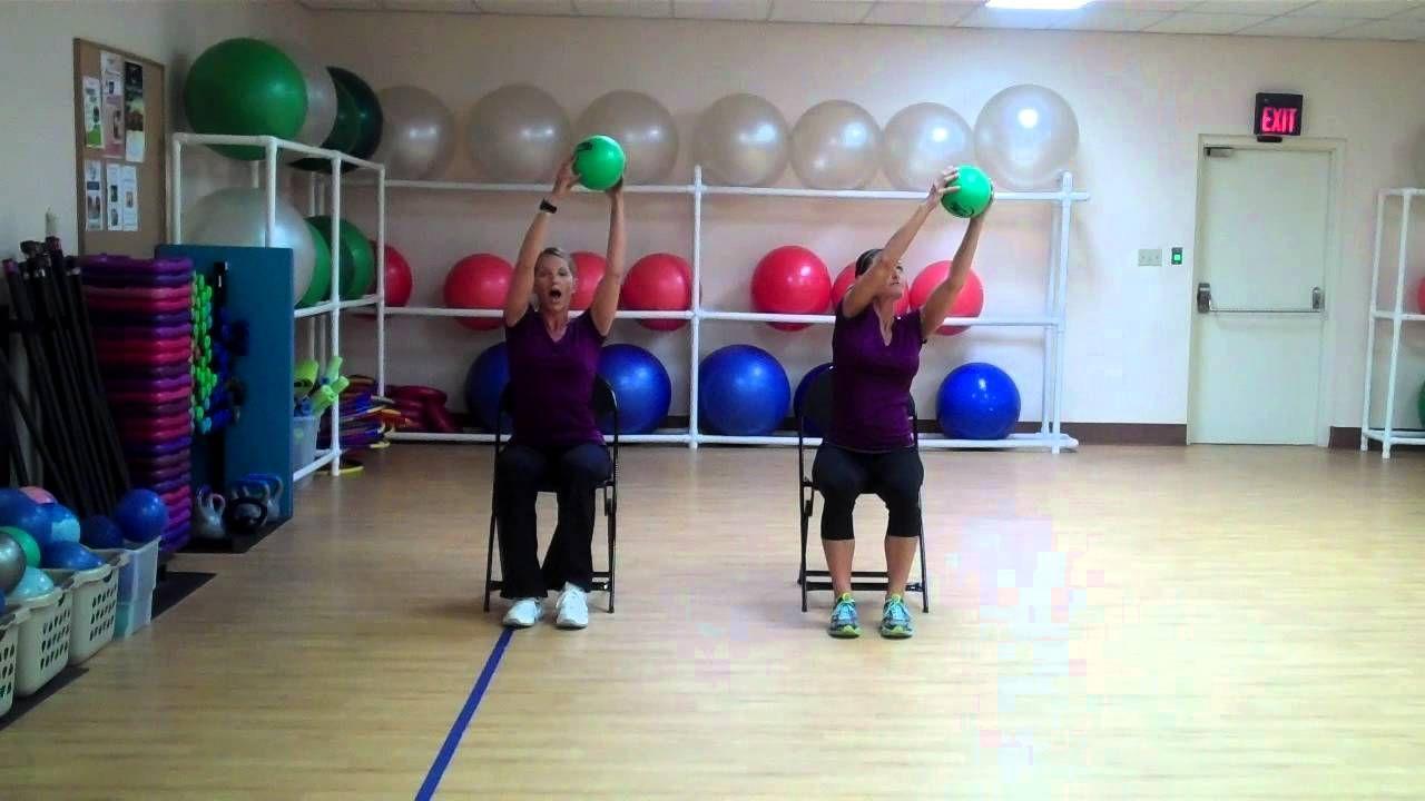 OLDER ADULT SEATED BALL Ball exercises, Senior fitness