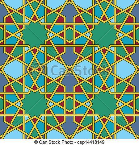 dibujos bizantinos | Multicolored Arabic Byzantine seamless pattern vector illustration