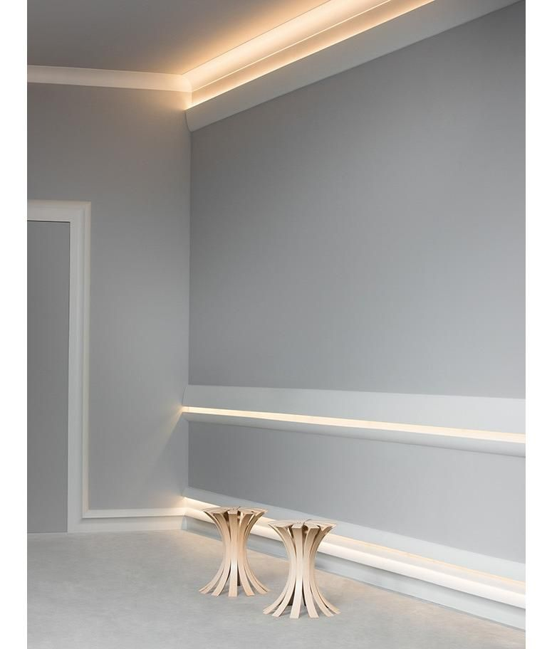 50 Indirect Lighting Design Ideas 2018: Ulf Moritz LUXXUS Cornice Moulding Indirect Lighting