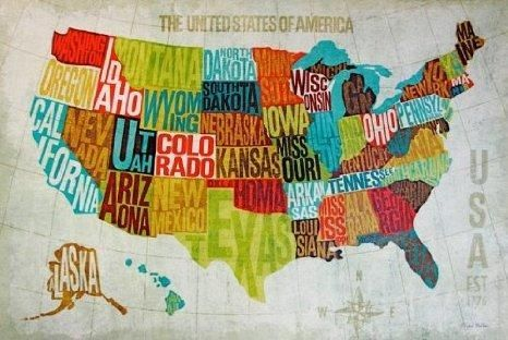 Usa map wall art walls gumiabroncs Image collections