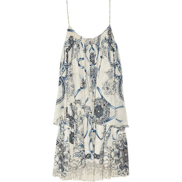 Roberto Cavalli Printed stretch-crepe dress ($595) ❤ liked on Polyvore