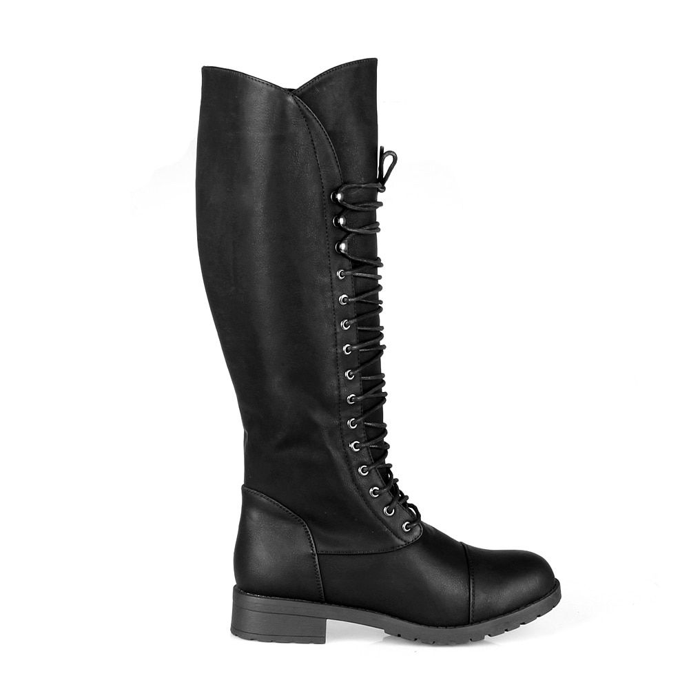Delicious Women/'s Matea Faux Leather Strappy Knee High Heel Dress Boots