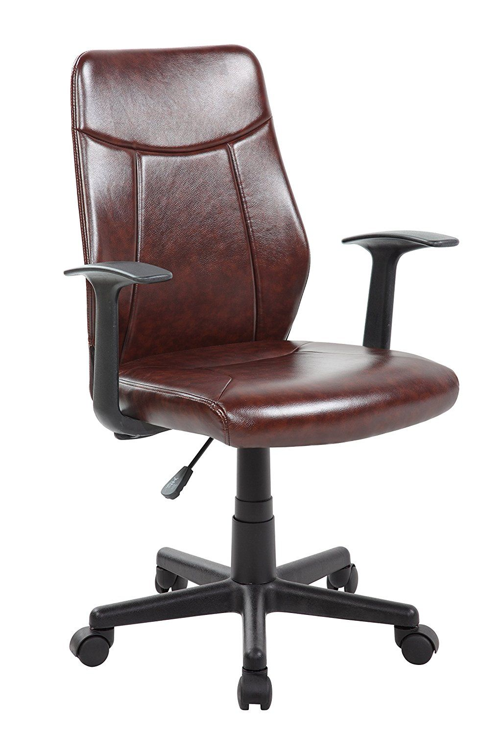 #Anji Adjustable Mid Back Brown Leather Computer Office Desk Chair With  Armrest