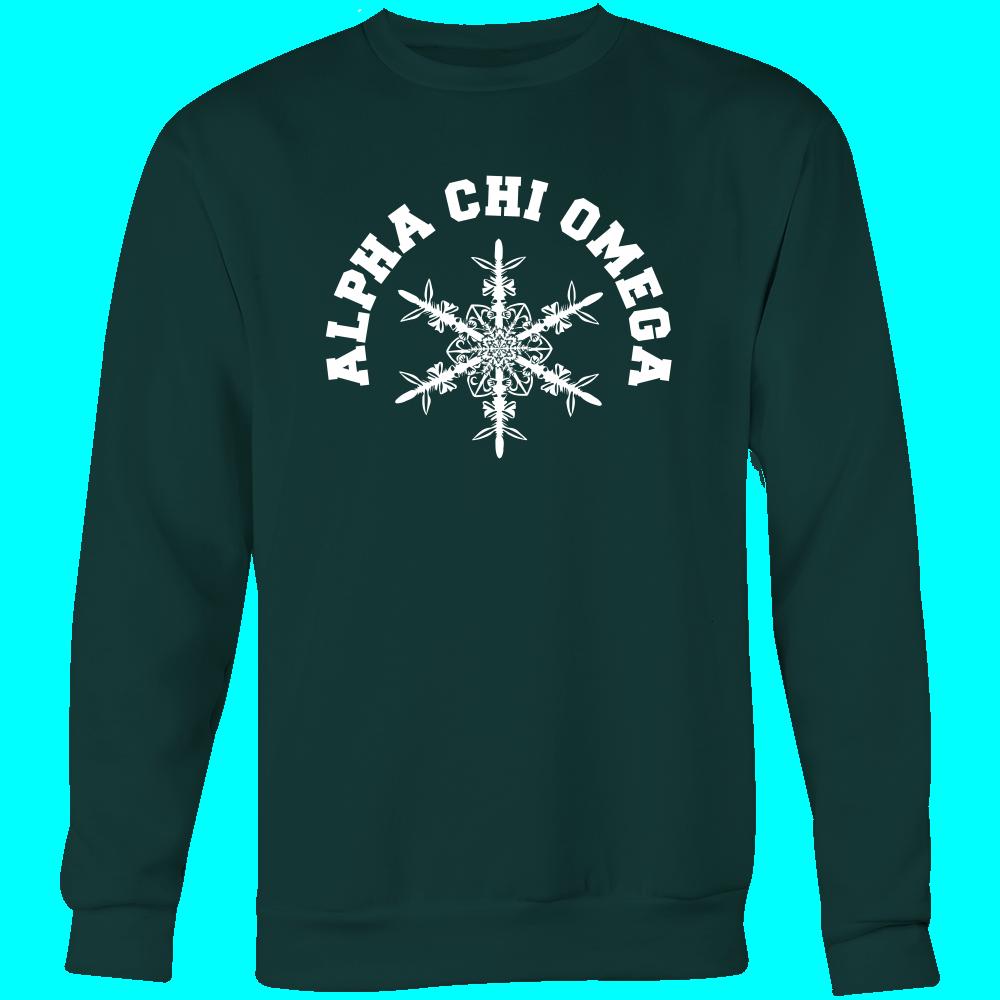 Alpha Chi Omega Snow Flake Crew Neck