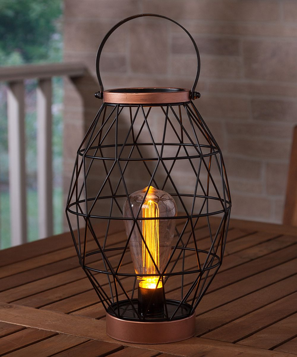 Metal lantern u solarpowered edison bulb products pinterest