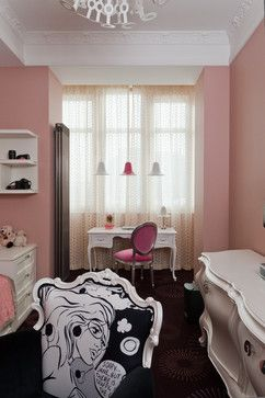 غرفة نوم بنات بيضاء بجدران وردية 1 ديكورات غرف نوم Furniture Home Home Decor