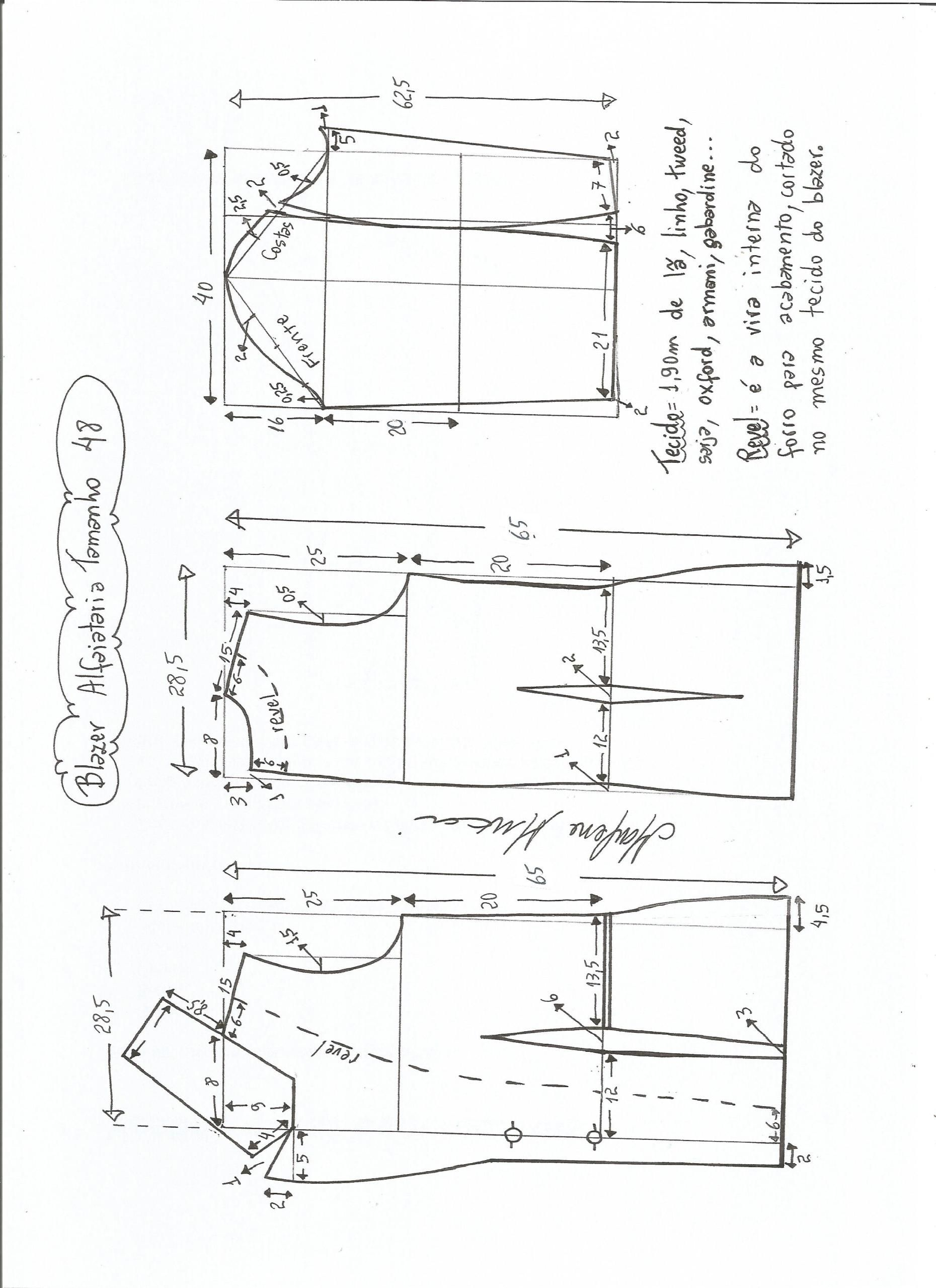 ff529e4f83 Esquema de modelagem de blazer alfaiataria gola de bico tamanho 48. Molde  De Blaser Feminino