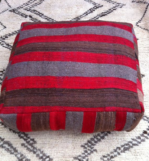 Moroccan Kilim Pouffe Floor Cushions Cover By Moroccangivings