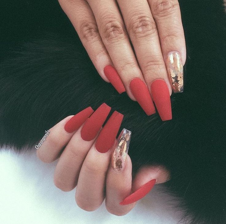 Matte Red Nails With A Gold Feature Nail