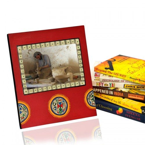 ExclusiveLane Warli Handpainted Photoframe Red - Photo Frames by ExclusiveLane for Beeja
