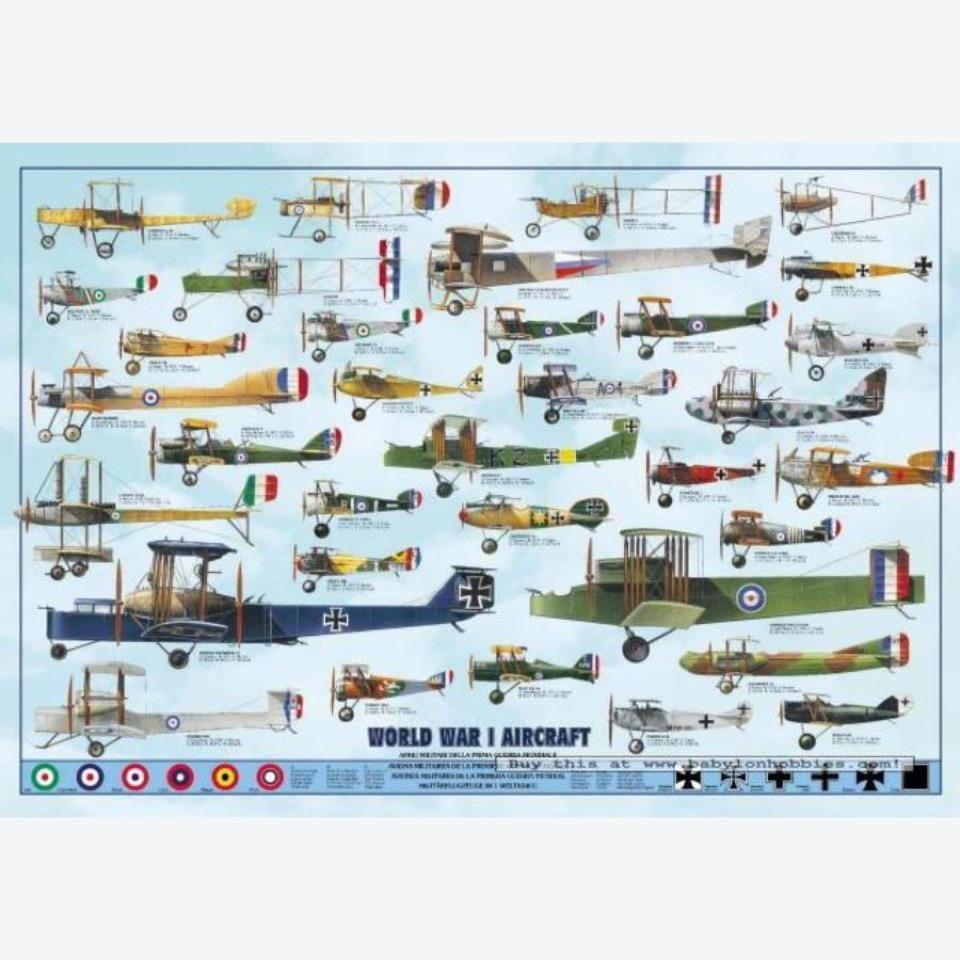 Educational World War II Aircraft 2 Weltkrieg Flugzeuge Poster Grösse 98x68 cm