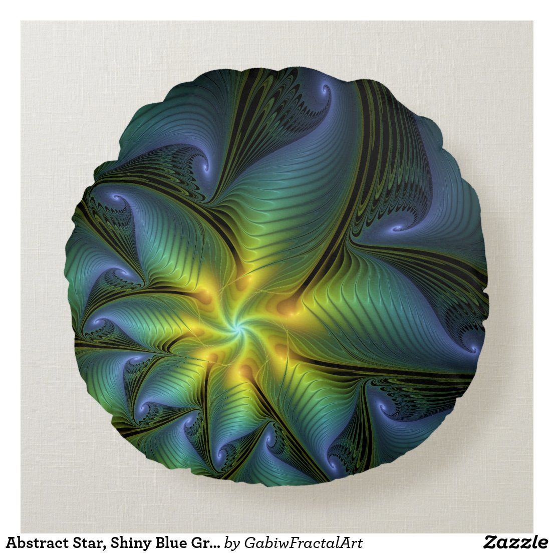 Abstract Star, Shiny Blue Green Golden Fractal Art Round Pillow