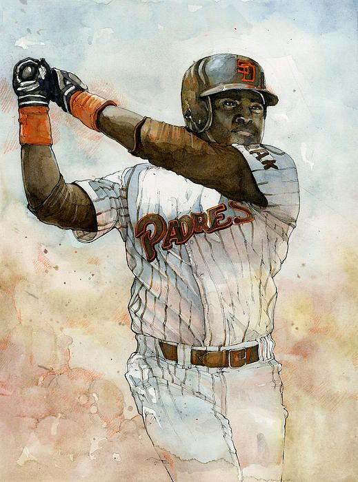 Tony Gwynn of the San Diego Padres watercolor painting by sports artist Michael Pattison.