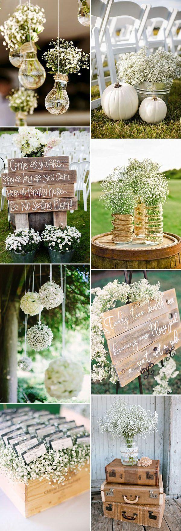 Wedding reception wedding decor ideas  elegant babyus breath wedding decoration ideas weddingdecoration