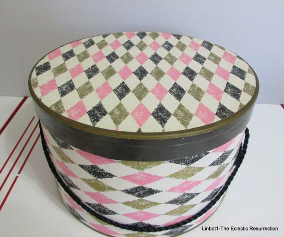"""Vintage 1950s Harlequin Hat Box  Pink, gray, gold & black on white  7.5"""" tall x 12"""" diameter  Excellent vintage used condition  Estate find"""