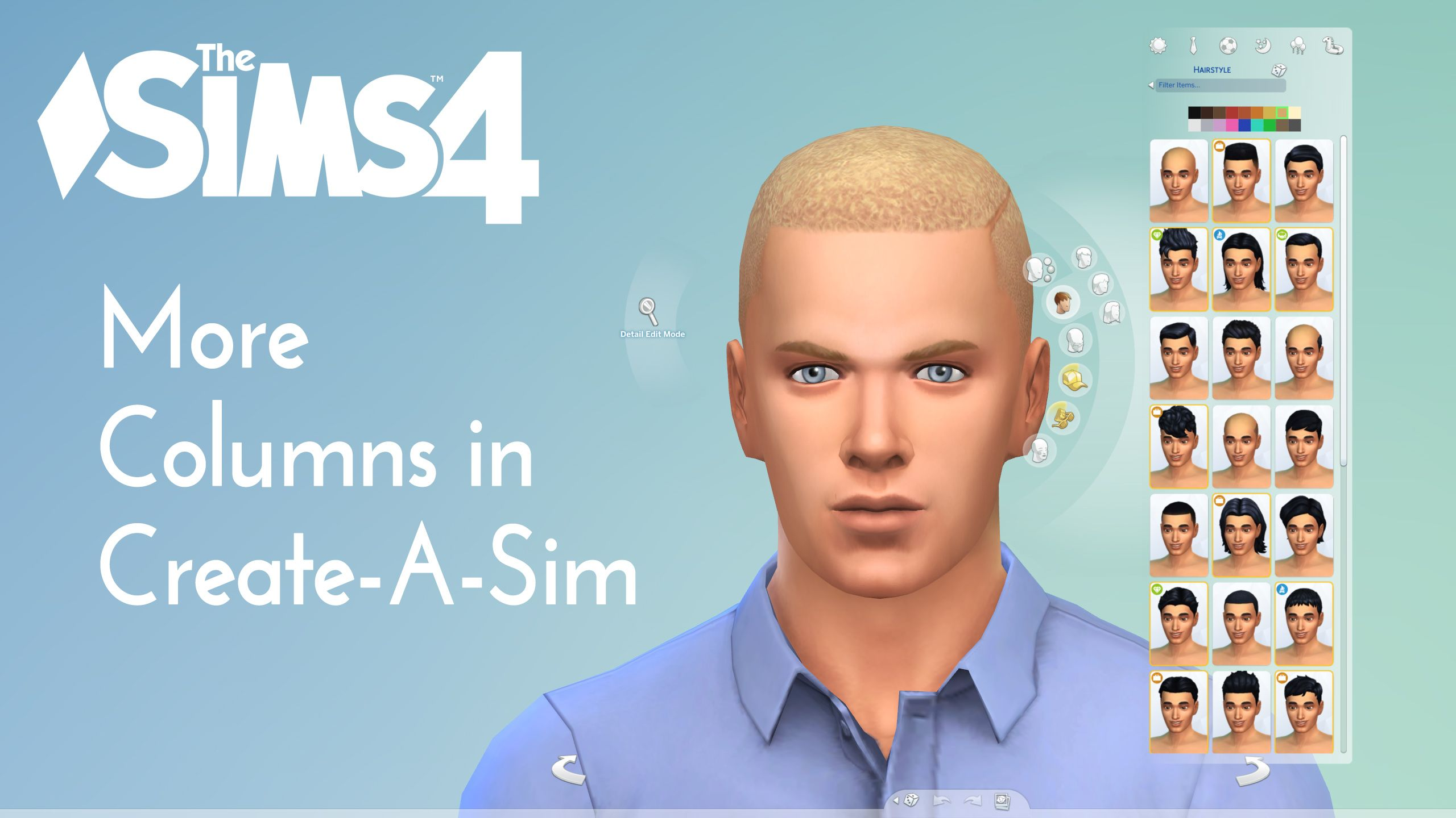 Downloaded Mod The Sims More Columns in CAS v1 3