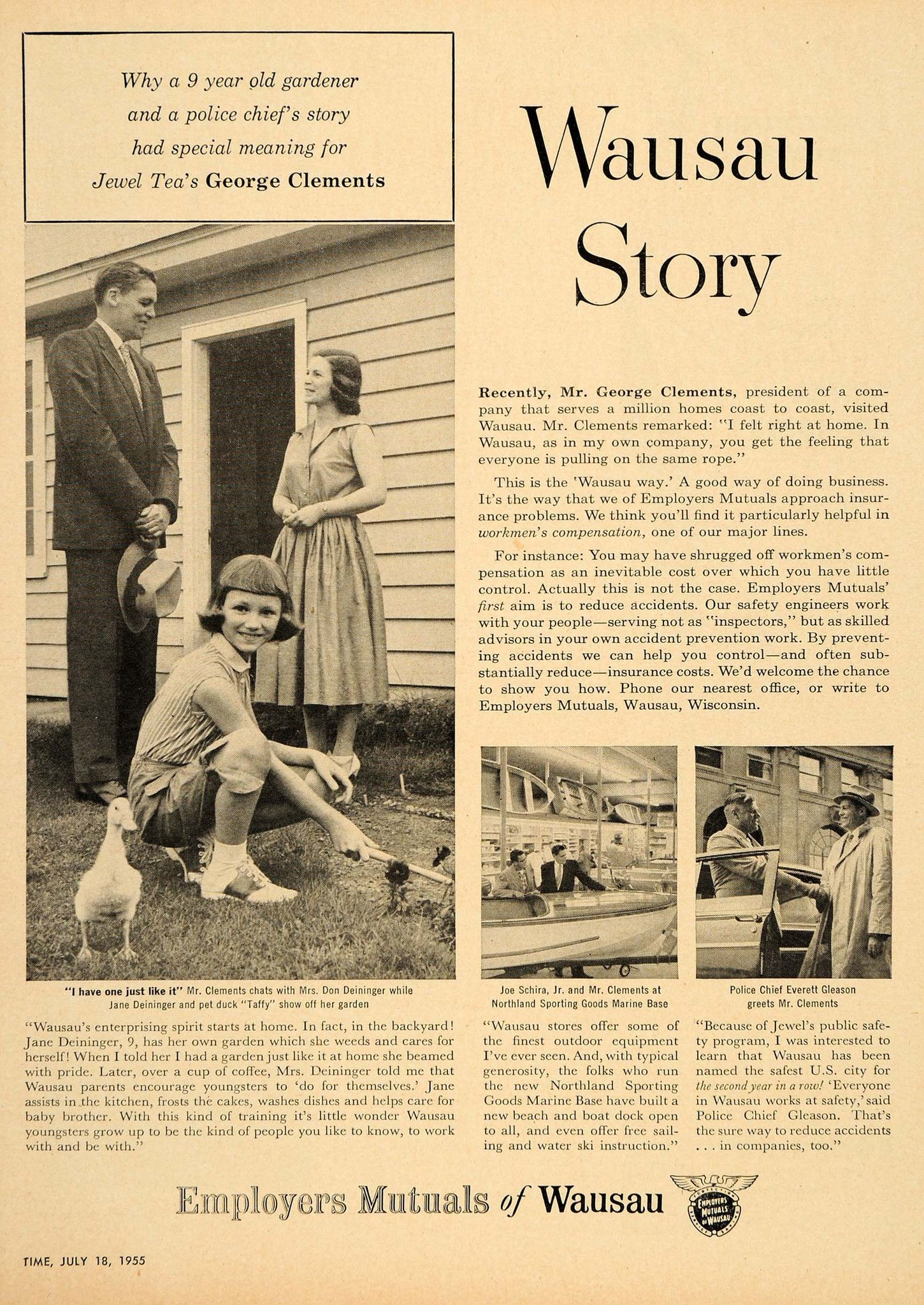 1955 Ad Employers Mutual Insurance Wausau Story Clement Original