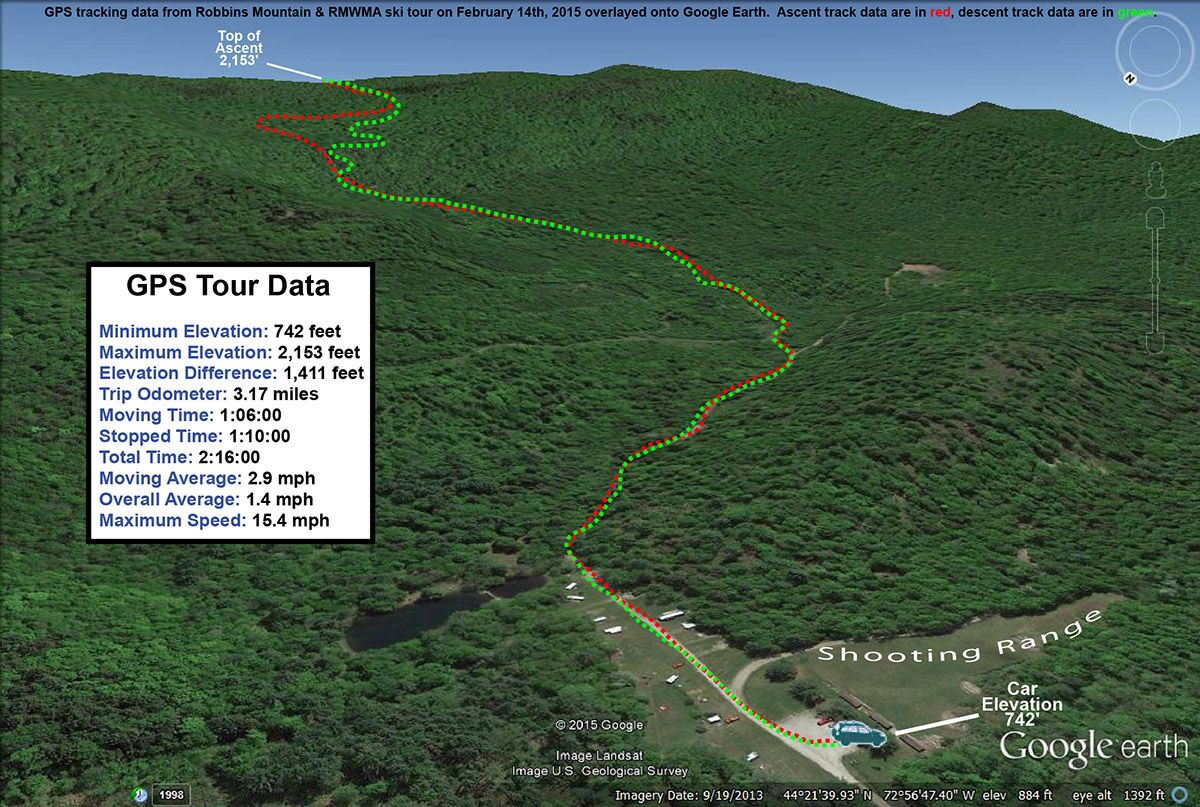 A Google Earth Map With GPS Tracking Data From A Backcountry Ski - Google earth elevation data