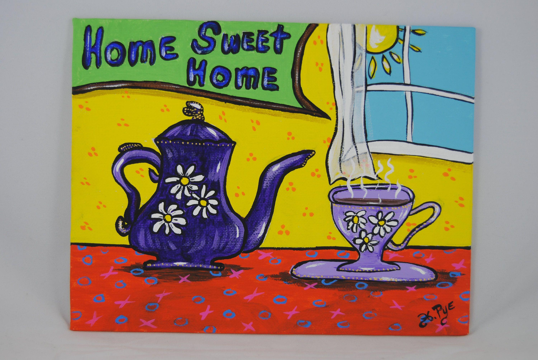 Purple teapot Original Painting Folk art teacup daisy whimsical ...