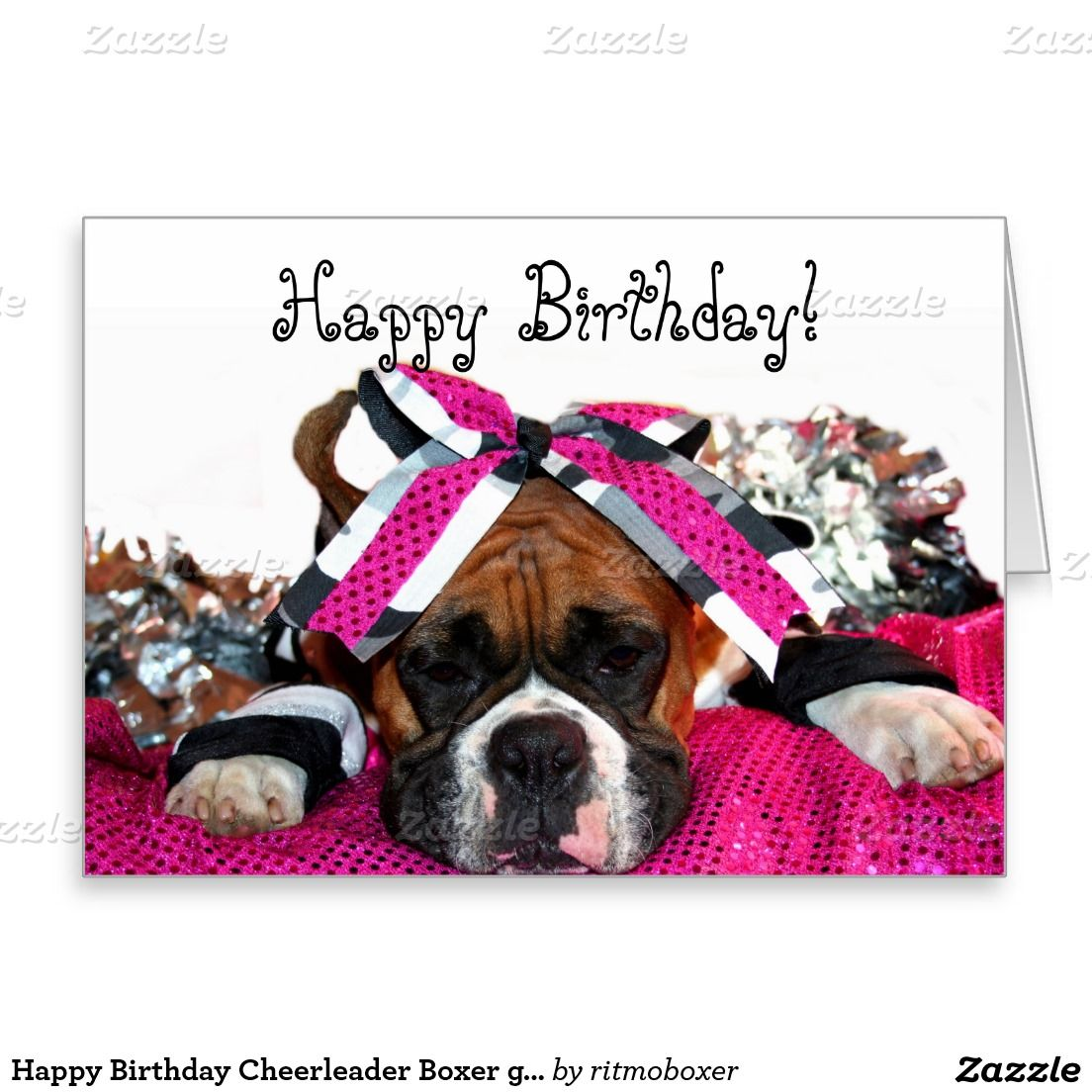 Happy Birthday Cheerleader Boxer Greeting Card