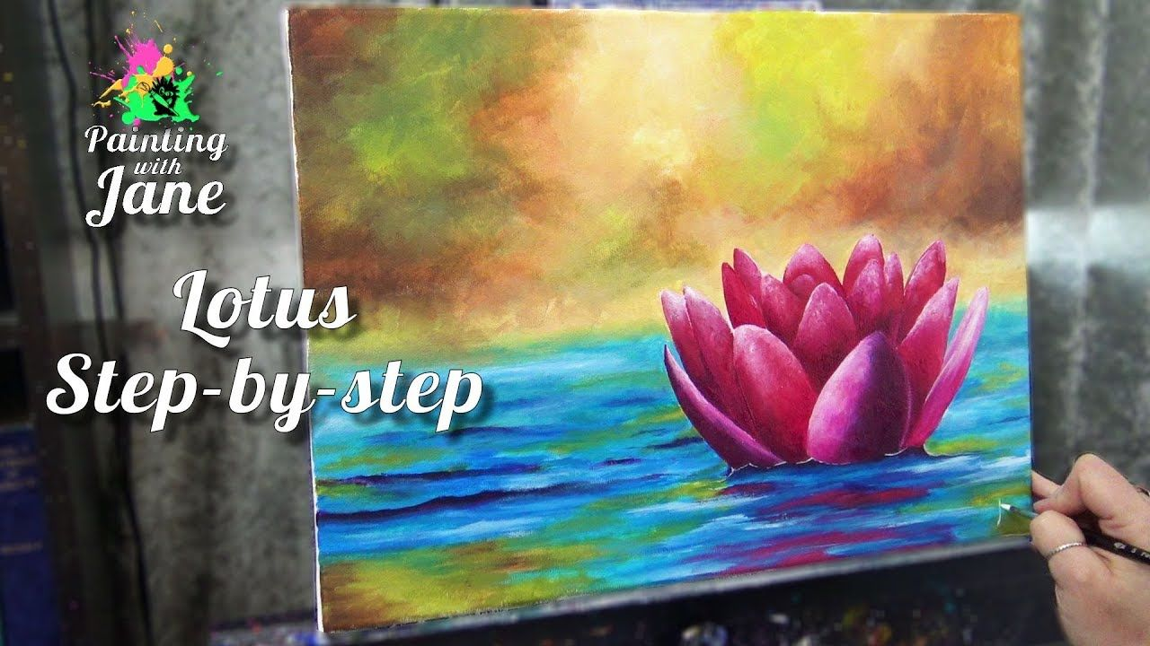 Zen Lotus Step By Step Acrylic Painting On Canvas For Beginners