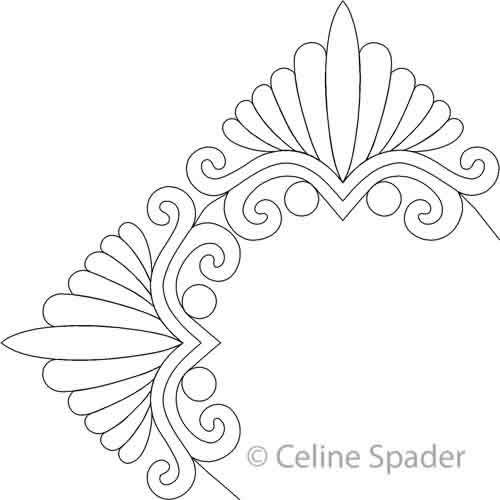 Digital Quilting Design Bonnie's Feather Triangle Border Corner by ... : feather quilting designs - Adamdwight.com