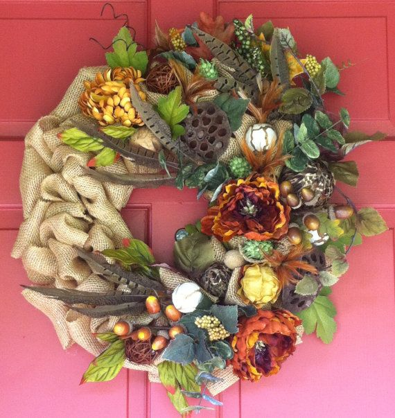 Burlap and Floral Fall Wreath by CorinnesCottage on Etsy, $55.00