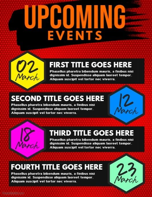 upcoming events flyer postermywall pinterest event flyers. Black Bedroom Furniture Sets. Home Design Ideas