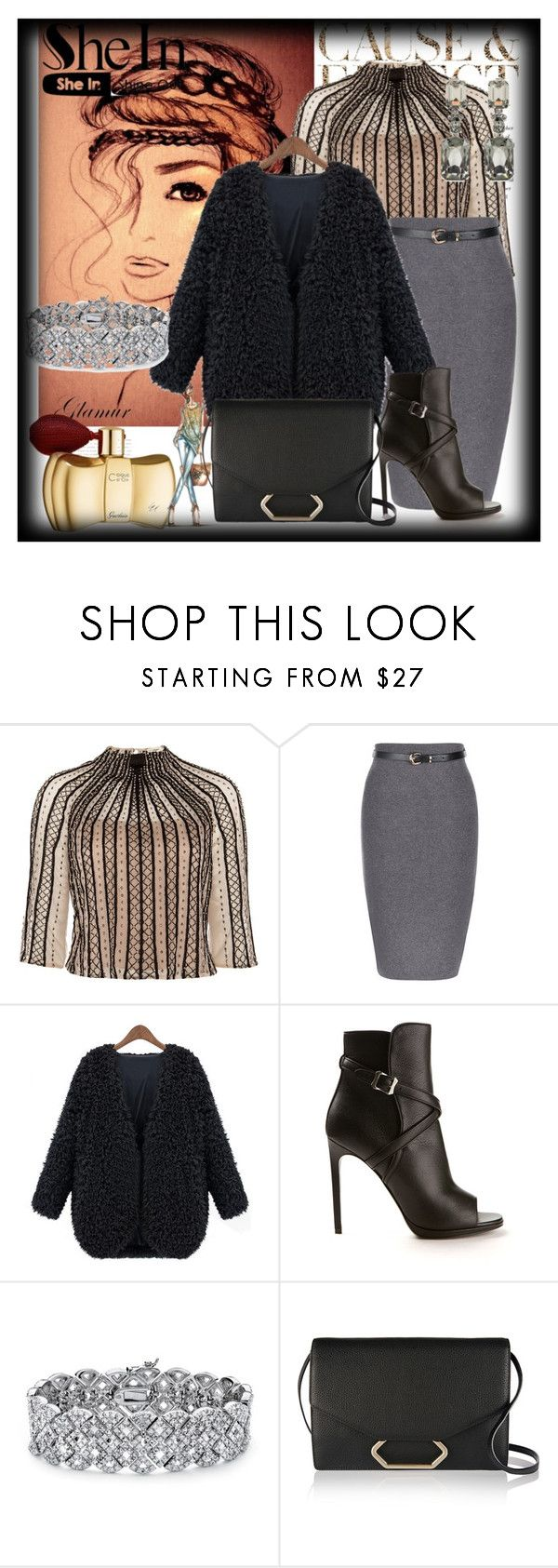 """""""Black V Neck Coat -Sheln"""" by suadapolyvore ❤ liked on Polyvore featuring Envi, Temperley London, Yves Saint Laurent, Palm Beach Jewelry, Victoria Beckham, Oscar de la Renta, StreetStyle, contest, StreetChic and shein"""