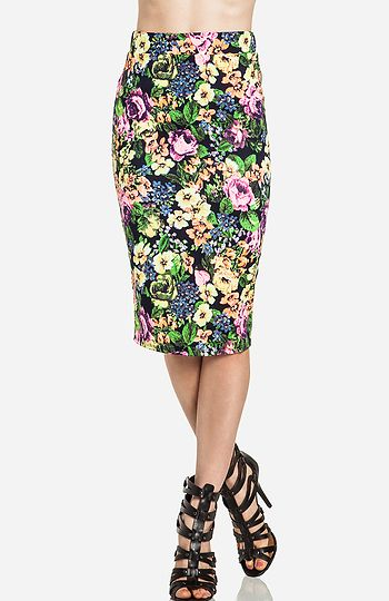 Vibrant Floral Midi Skirt. Shop now at DailyLook!