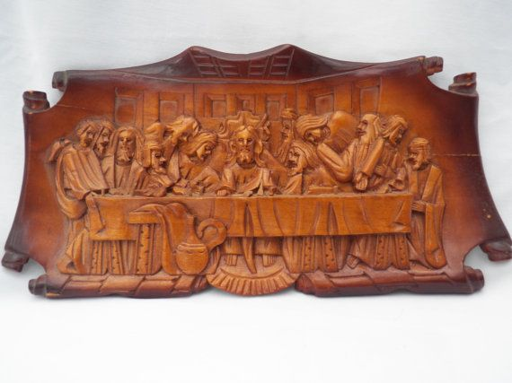 Last Supper Wall Decor vintage hand carved wood last supper three dimensional wall