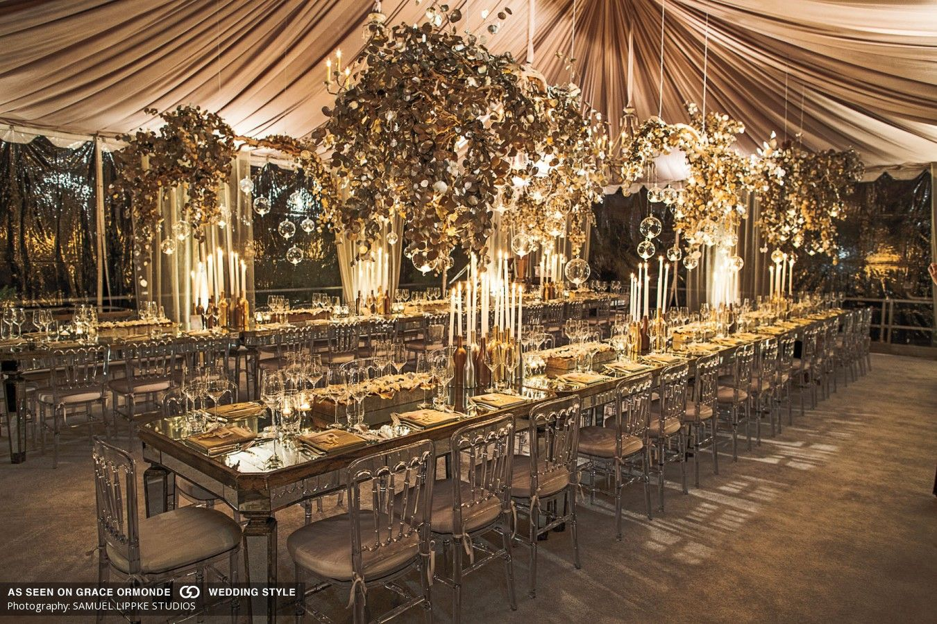 Glass mirror table and gold leaves tabletop wedding decor for Golden wedding table decorations