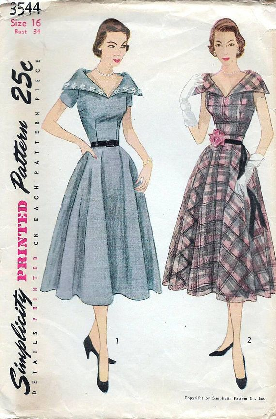50s Simplicity dress sewing pattern 3544 Bust 34 inches | 1950\'s ...