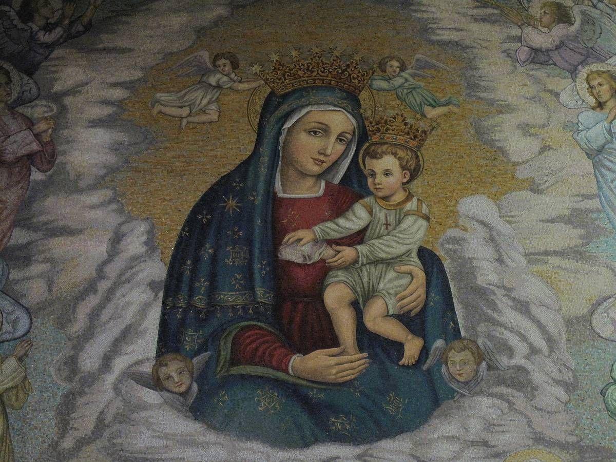 1. O Celeste Tesoriera di tutte le grazie, Madre di Dio e Madre mia Maria, poiché sei la Figlia Primogenita dell'Eterno Padre e tieni in mano la Sua onnipo