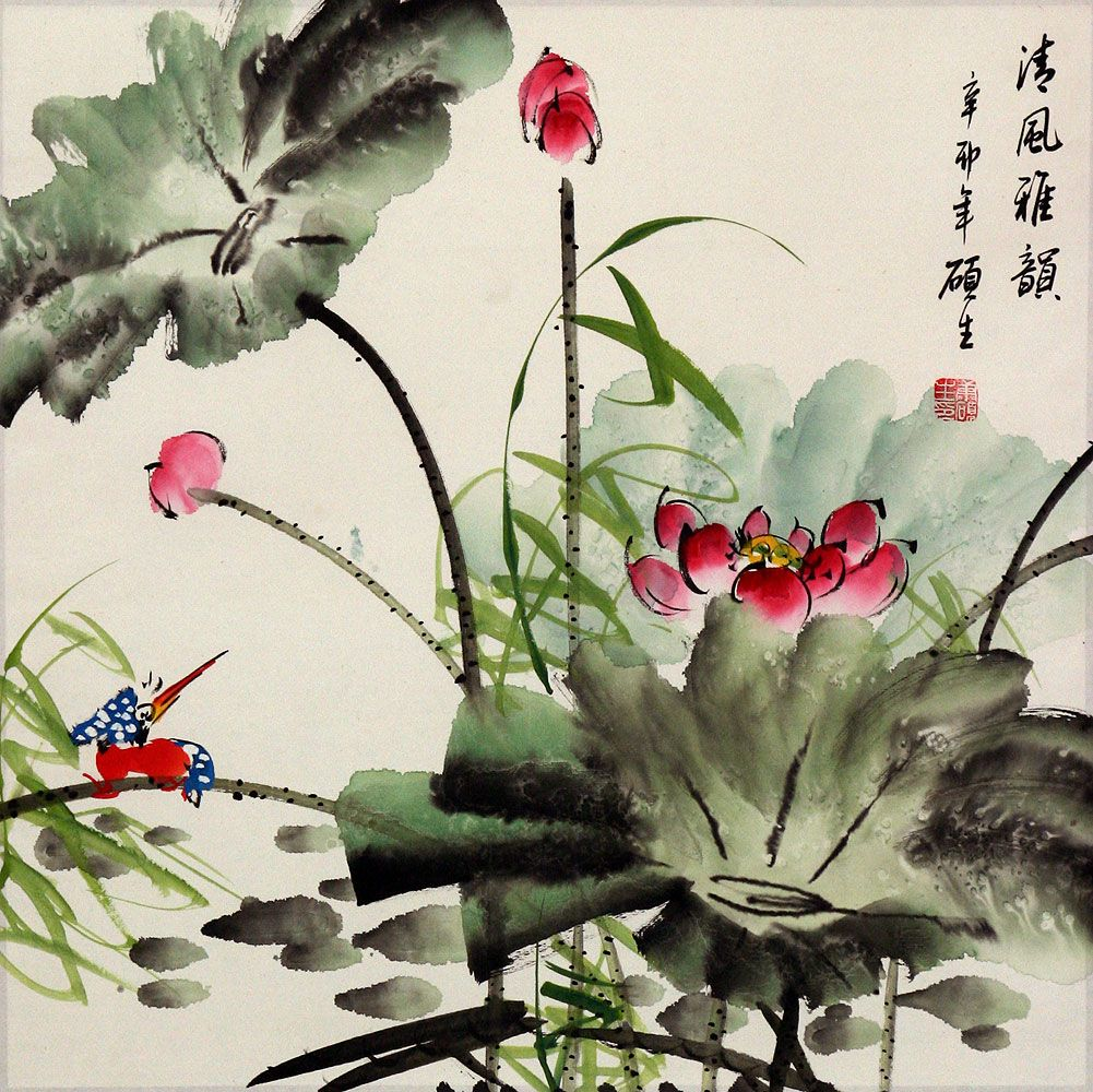 King fisher and lotus flower painting birds flowers wall king fisher and lotus flower painting birds flowers wall izmirmasajfo