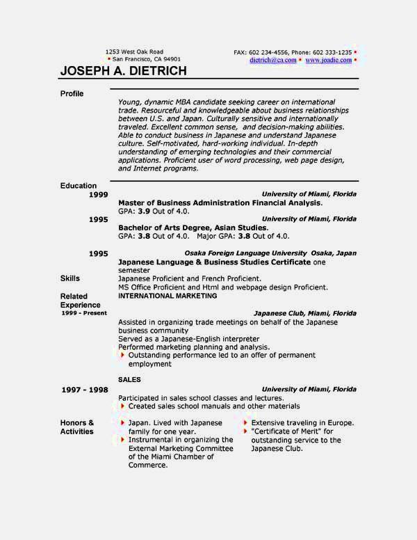 download word functional resume template
