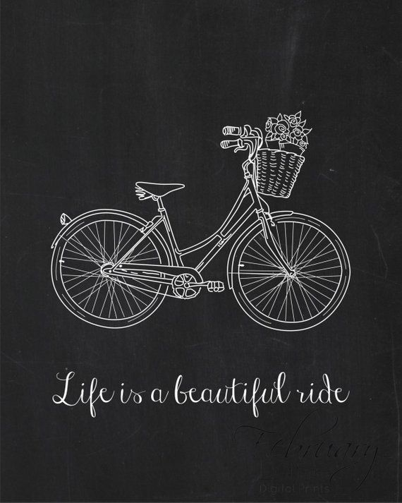 Life is a Beautiful Ride Vintage Bicycle Wall Art Printable Instant Download- Faux Chalkboard Chalk Art Blackboard 8×10- Home Room Decor