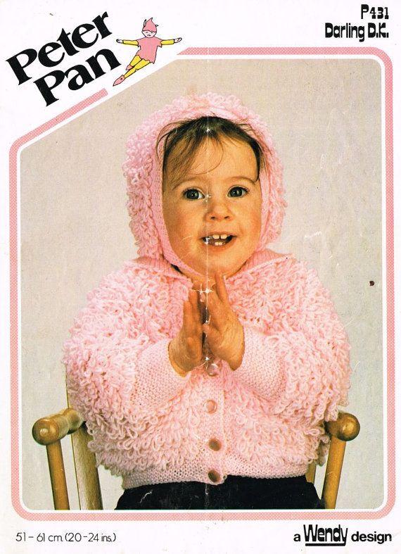 Toddler Baby Loopy Jacket Bonnet Vintage Knitting Pattern Pdf