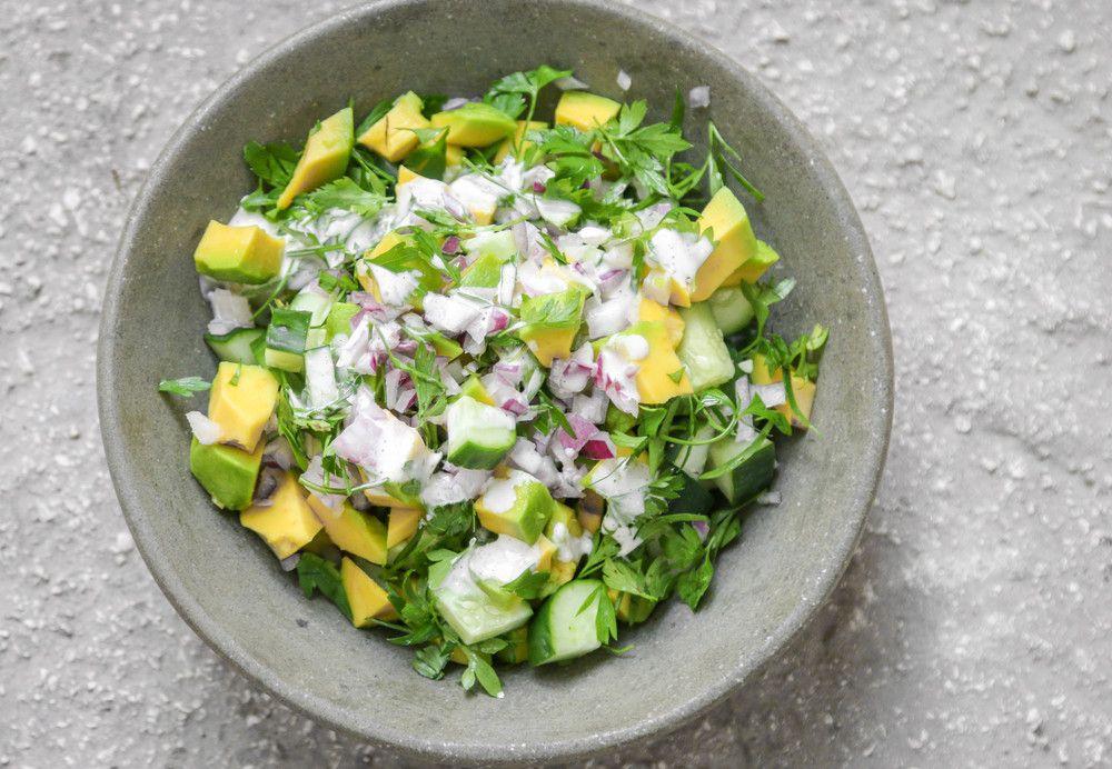 The Hungry Hounds— Avocado Cucumber Salad With Yogurt Lime Sauce