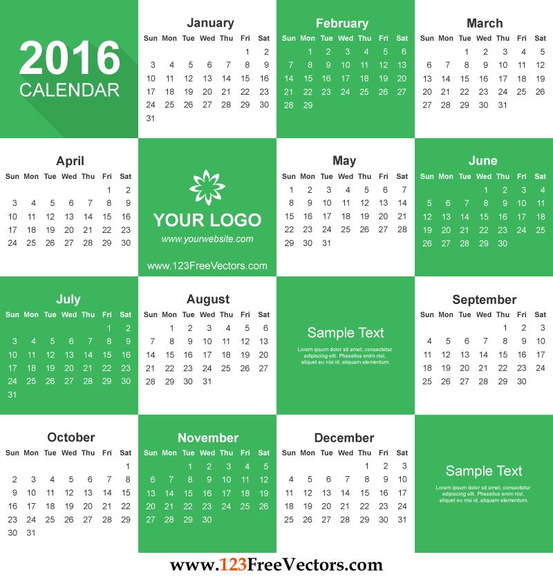 Free Download Printable Calendar Template 2016 Vector Illustration – Free Office Calendar
