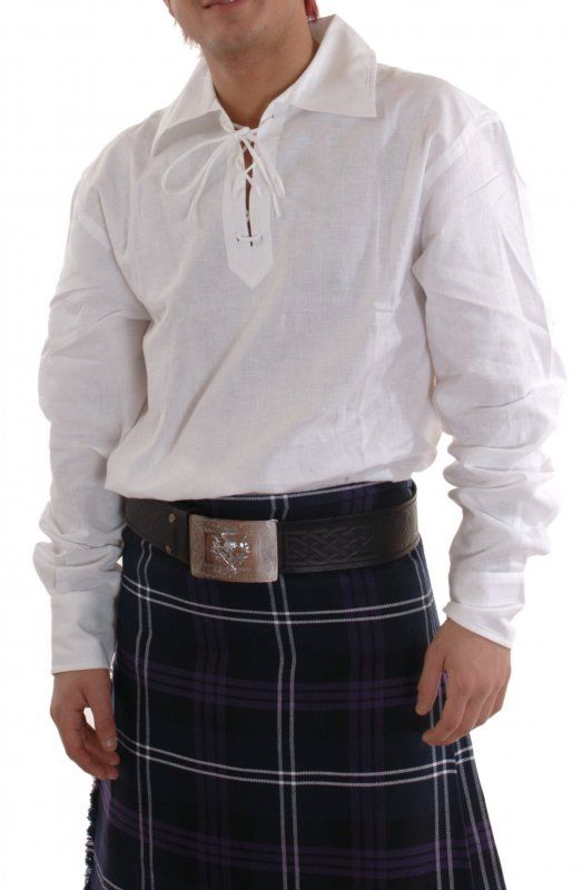e6c0442d1 Deluxe Linen Ghillie Shirt, White | Kilts and Scottish Kilts from  Edinburgh. Since I have Scottish heritage, I am trying to imagine myself  donning this ...