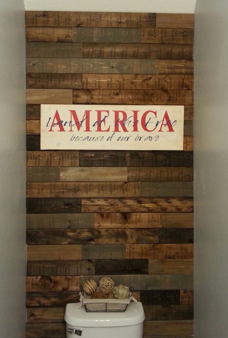 Faux Pallet Wall Used 1x4 Pine Boards Stained And Distressed Using