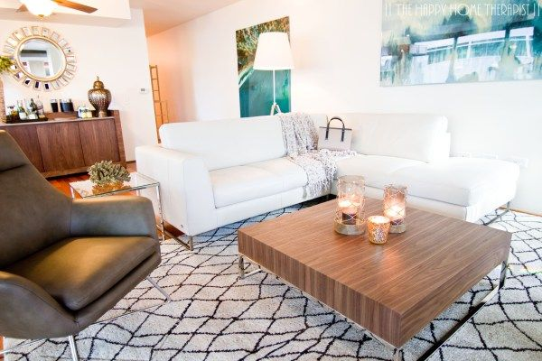 Tips for Creating a Happy Home: Don't be afraid to float some furniture away from walls! It can help define space and direct the flow of traffic. | The Happy Home Therapist