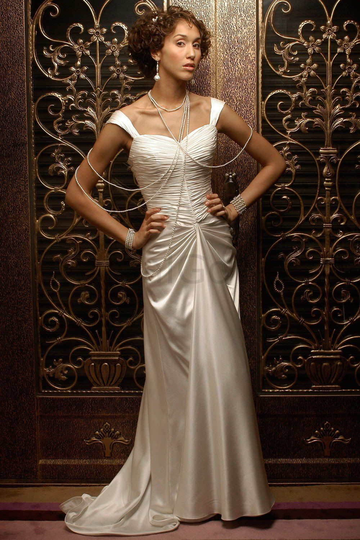 OfftheShoulder Ruched Bodice Sheath Wedding Dress